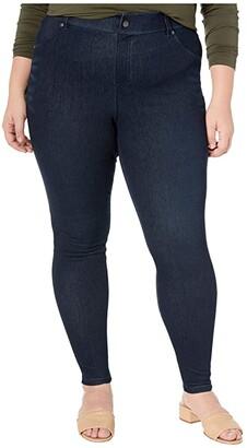 Hue Plus Size High-Waist Ultra Soft Denim Leggings (Black/Indigo Wash) Women's Jeans