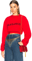 Rodarte Radarte LA Embroidery Cropped Sweatshirt in Red.