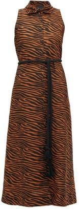 Lisa Marie Fernandez Alison Zebra-print Belted Linen-blend Shirtdress - Womens - Brown Print