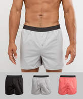 Asos Woven Boxers In Black Grey & Pink 3 Pack Save