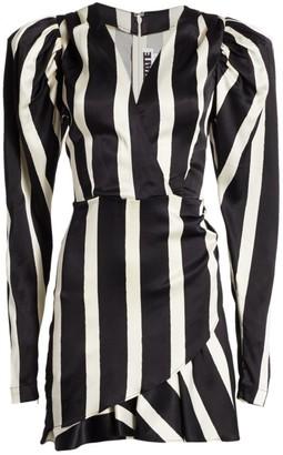 Rotate by Birger Christensen Aiken Puff-Sleeve Stripe Wrap Dress