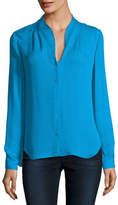 Elie Tahari Bea Long-Sleeve Button-Front Blouse