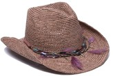Ale By Alessandra Arabella Feather Trim Cowboy Hat
