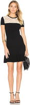 RED Valentino Short Sleeve Drop Waist Mini Dress in Black