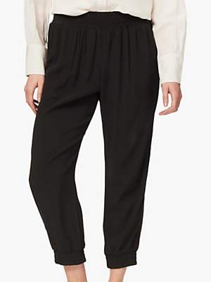 Brora Satin Back Jogger Trousers, Black