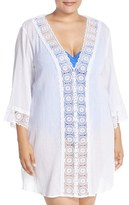LaBlanca Plus Size Women's La Blanca 'Island Fare' V-Neck Tunic Cover-Up