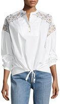 Tory Burch Jayne Long-Sleeve Embroidered Peasant Top