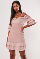 Missguided Nude Ruffle Hem And Sleeve Milkmaid Mini Dress