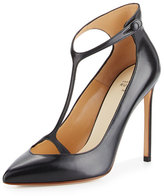 Francesco Russo Leather T-Strap 105mm Pump, Black