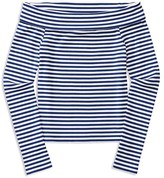 Ralph Lauren Girls' Striped Off the Shoulder Knit Top - Little Kid
