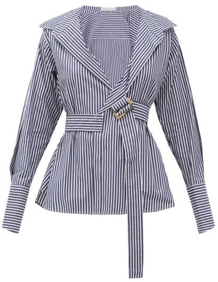 Palmer Harding Palmer//harding - Calli Belted Striped Cotton-poplin Shirt - Navy White