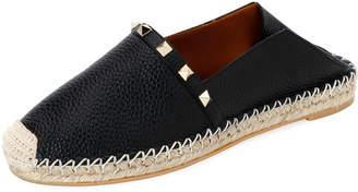 Valentino Garavani Rockstud Leather Slide Espadrilles