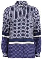 MICHAEL Michael Kors Women's Durie Border Shirt Iris/Royal Purple