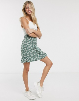 Brave Soul lione button through mini skirt in green floral print