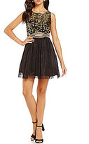 B. Darlin Sequin Pattern Lace Infinity Waist Party Swing Dress