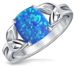 Bling Jewelry Triquetra Cushion Celtic Knot Created Blue Opal Ring Sterling Silver