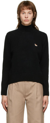 MAISON KITSUNÉ Black Wool Profile Fox Turtleneck