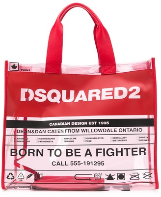 DSQUARED2 Logo Detail Transparent Tote Bag