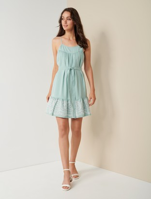 Forever New Molly Embroidered Mini Dress - Blue Mint - 10