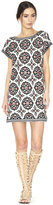 Alice + Olivia Lani Embroidered Boatneck Short Sleeve Dress