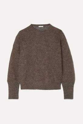 Brunello Cucinelli Metallic Ribbed-knit Sweater - Charcoal