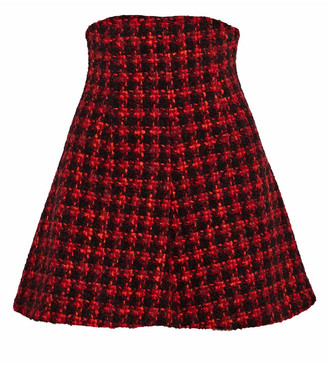 RED Valentino Flared Checked Wool-blend Tweed Mini Skirt