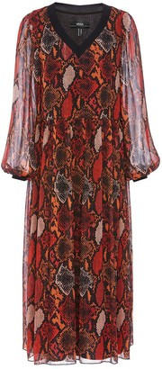 Nissa Red Snake Print Flowy Dress