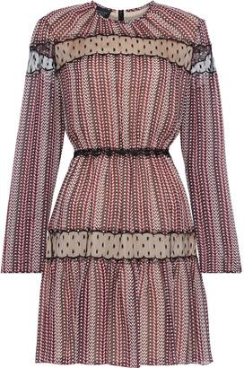 Giambattista Valli Point D'esprit-trimmed Printed Silk-chiffon Mini Dress