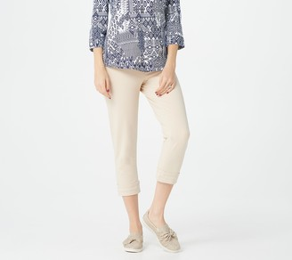 Denim & Co. Petite Comfy Knit Pull-On Crop Pants