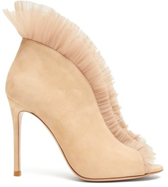 Gianvito Rossi Vamp 105 Suede Ankle Boots - Nude