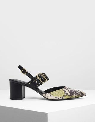 Charles & Keith Snake Print Studded Slingback Heels