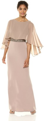 Sangria Women's Capelet Gown with Beaded Waist