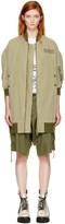R 13 Green Hemp Long Flight Jacket