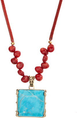 Barse Women's Necklaces BLUE/RED - Teal Howlite & Bamboo Coral Square Pendant Necklace