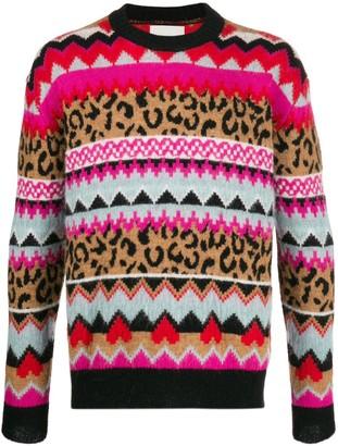 Laneus intarsia knit long-sleeve jumper