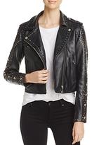 Scotch & Soda Studded Pebbled Leather Biker Jacket