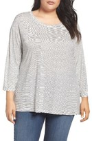 Sejour Plus Size Women's Stripe Scoop Neck Tee