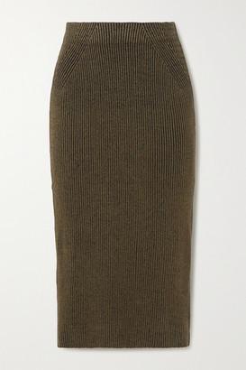 Mara Hoffman Susan Ribbed Stretch-modal Midi Skirt - Army green