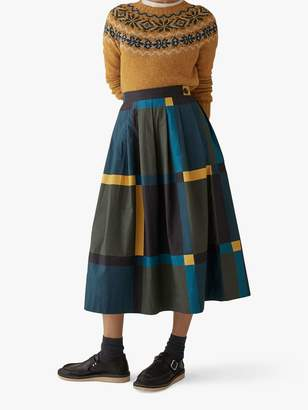 Toast Large Check Cotton Skirt, Olive