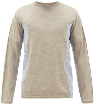Comme des Garcons Poplin-insert Wool-jersey T-shirt - Mens - Brown
