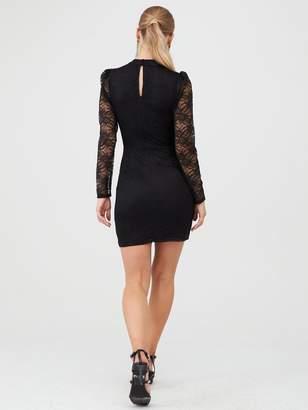 Very Lace Puff Sleeve Mini Dress - Black