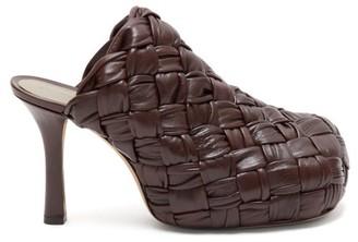 Bottega Veneta Bold Intrecciato Leather Mules - Dark Brown