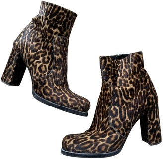 Prada Camel Pony-style calfskin Ankle boots