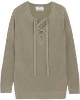 Allude Lace-up Wool And Cashmere-blend Sweater - Army green