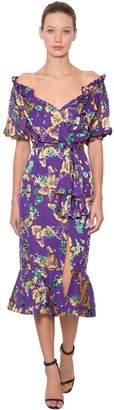 Saloni Olivia Floral Printed Silk Midi Dress