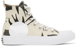 McQ Off-White and Black Swallow Plimsoll High-Top Sneakers