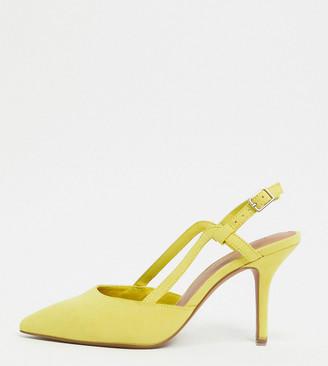 ASOS DESIGN Wide Fit Watkin slingback mid-heeled shoes in mustard