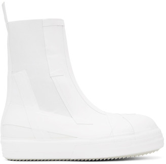 Rick Owens White Rubber Bozo Chelsea Boots