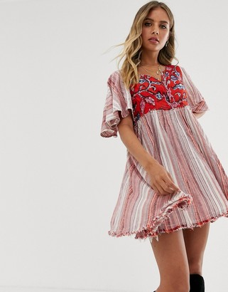 Free People Under The Sun stripe embroidered tunic dress