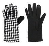 Sylvia Alexander Women's Glove Touch Screen Compatible Black/White Houndstooth